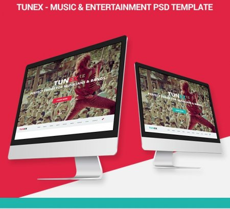 TUNEX — Music & Entertainment PSD шаблон