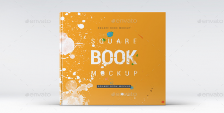 Square Book Mock-Up - макет книги PSD шаблон