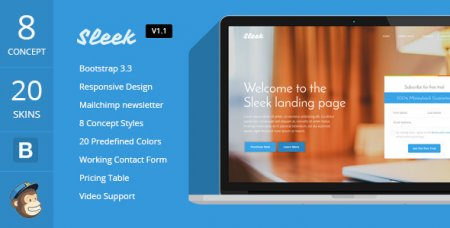 Sleek with Mobirise v1.2 – Отзывчивый Bootstrap Landing Page