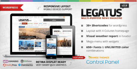 Legatus v2.2.0 – адаптивный новостной WordPress шаблон