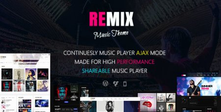Remix v3.9 - Музыкальный AJAX WordPress шаблон