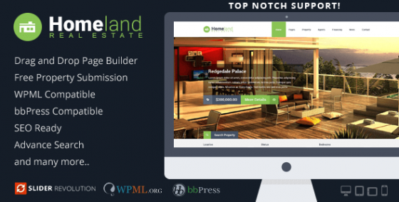 Homeland v3.1.4 - Адаптивный шаблон для WordPress Real Estate