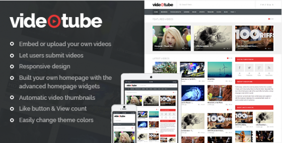 VideoTube v2.2.8 – адаптивный Video WordPress шаблон