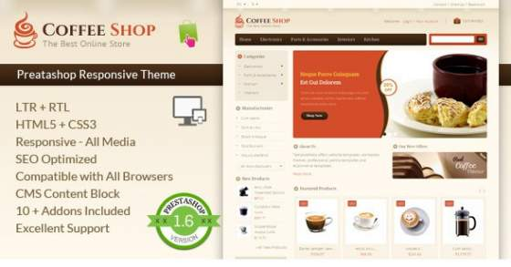 Coffee Shop - Prestashop адаптивный шаблон
