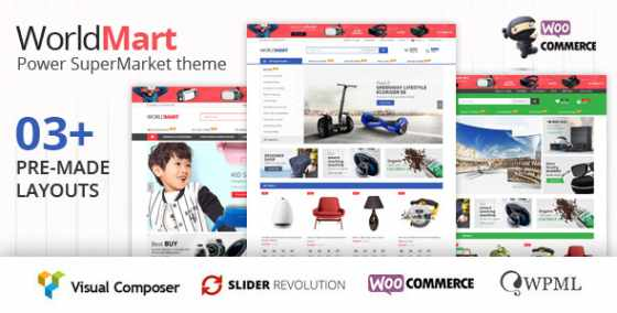 Worldmart v1.1.1 - шаблон WordPress WooCommerce